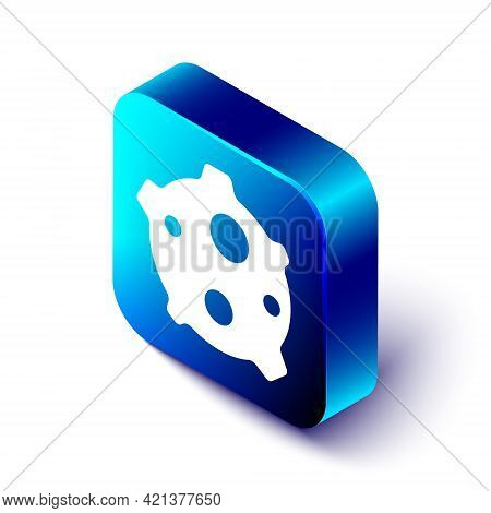 Isometric Asteroid Icon Isolated On White Background. Blue Square Button. Vector