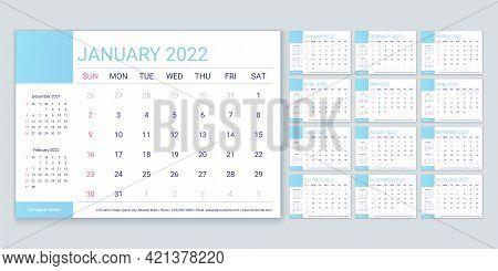 2022 Calendar. Planner, Calender Template. Week Starts Sunday. Vector. Yearly Stationery Organizer.