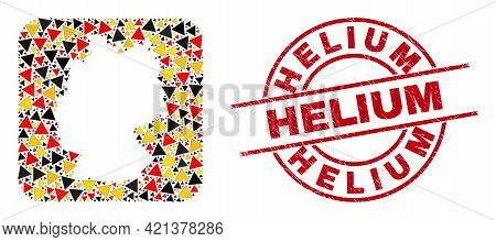 Germany Map Mosaic In German Flag Official Colors - Red, Yellow, Black, And Rubber Helium Red Round