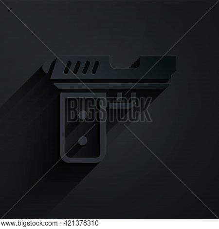 Paper Cut Pistol Or Gun Icon Isolated On Black Background. Police Or Military Handgun. Small Firearm