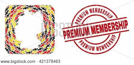German Geographic Map Mosaic In Germany Flag Official Colors - Red, Yellow, Black, And Dirty Premium