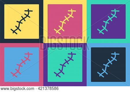Pop Art Scar With Suture Icon Isolated On Color Background. Vector