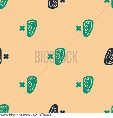 Green And Black Deafness Icon Isolated Seamless Pattern On Beige Background. Deaf Symbol. Hearing Im
