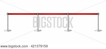 Realistic Barrier Fence With Red Tape. Red Carpet Event Entrance Gate, Vip Zone, Exclusive Entrance,