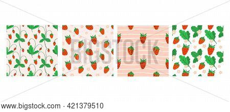 Strawberry Seamless Pattern Set. Hand Drawn Forest Or Garden Berry. Whole Juicy Berries, Bush With G