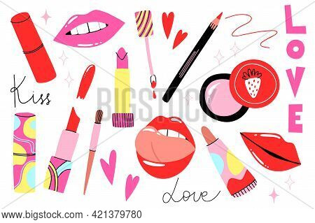 Lips Cosmetic. Cartoon Hand Drawn Lipstick And Gloss, Pencil And Brush. Bright Abstract Container Tu