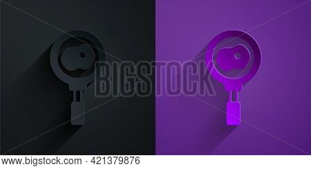Paper Cut Fried Eggs On Frying Pan Icon Isolated On Black On Purple Background. Fry Or Roast Food Sy