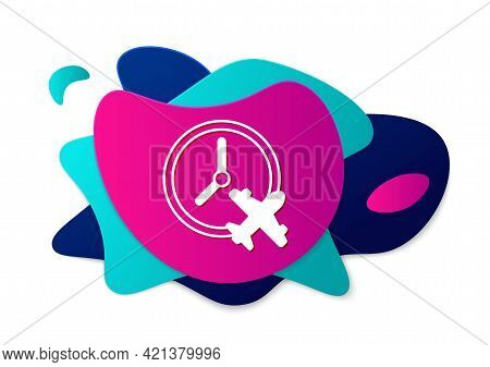 Color Clock With Airplane Icon Isolated On White Background. Designation Of Time Before Departure, C