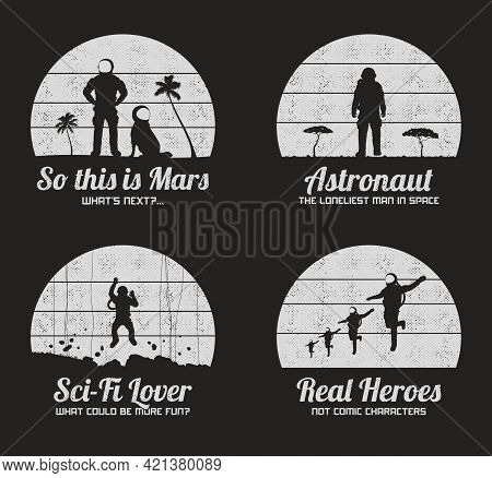 Flying Astronaut. Cosmonaut Team. Silhouette Of Man With Dog. Sci Fi