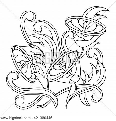 Coloring Book For Adults. An Interweaving Of Fantastic Flowers And Stylized Leaves. Hand Drawn Decor
