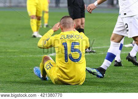 Kyiv, Ukraine - March 28, 2021: Oleksandr Zubkov Of Ukraine Seats On The Pitch During The Fifa World