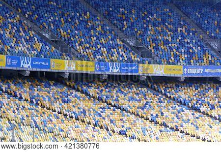 Kyiv, Ukraine - March 28, 2021: Empty Tribunes Of Nsk Olimpiyskiy Stadium During The Fifa World Cup