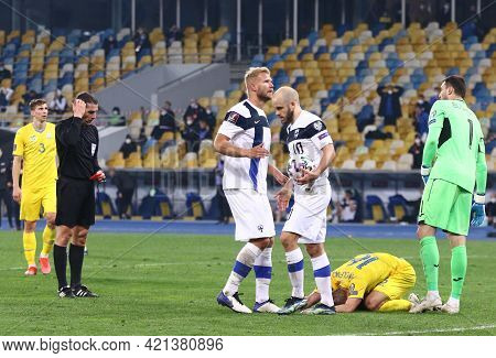 Kyiv, Ukraine - March 28, 2021: T.pukki Of Finland (with Ball) Prepares To Perform A Penalty Kick Wh