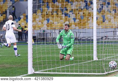 Kyiv, Ukraine - March 28, 2021: Goalkeeper Georgiy Bushchan Of Ukraine Reacts After Missed A Goal Fr