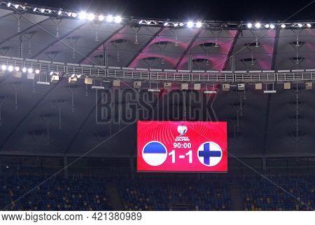 Kyiv, Ukraine - March 28, 2021: Scoreboard Of Nsk Olimpiyskiy Stadium In Kyiv With A Final Score (1-