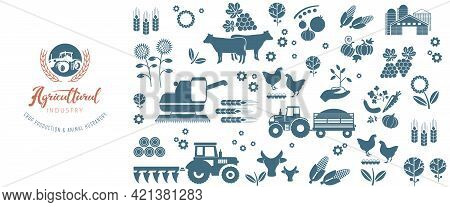 Agricultural Background Of Farm Icons. The Emblem Of The Agricultural Complex, For Advertising The F