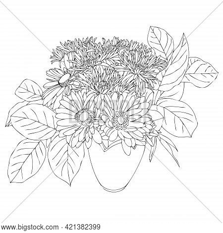 Vase With Flowers Chrysanthemums, Daisies And Gerberas. Anti-stress Coloring Book For Adults