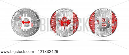 Three Bitcoin Crypto Coins With The Flag Of Canada. Money Of The Future. Modern Cryptocurrency Vecto