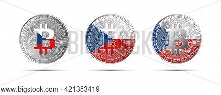 Three Bitcoin Crypto Coins With Flag Of Czech Republic. Czechia Money Of The Future. Modern Cryptocu