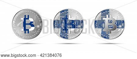 Three Bitcoin Crypto Coins With The Flag Of Finland. Money Of The Future. Modern Cryptocurrency Vect
