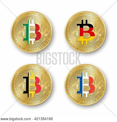 Four Golden Bitcoin Coins With Flags Of Italy, Germany, Belgium And France. Vector Cryptocurrency Ic