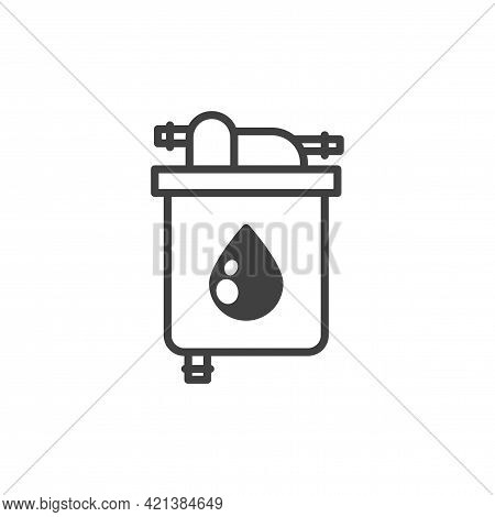 Oil Filter Icon. A Simple Line Drawing Of An Oil Purification Filter. Metal Case. Oil Inlet And Outl