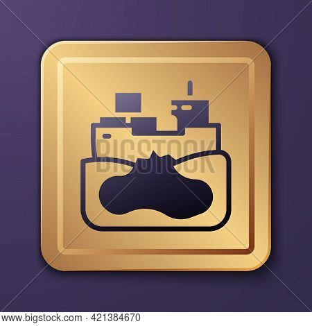 Purple Wrecked Oil Tanker Ship Icon Isolated On Purple Background. Oil Spill Accident. Crash Tanker.