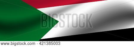 Banner With The Flag Of Sudan. Fabric Texture Of The Flag Of Sudan.
