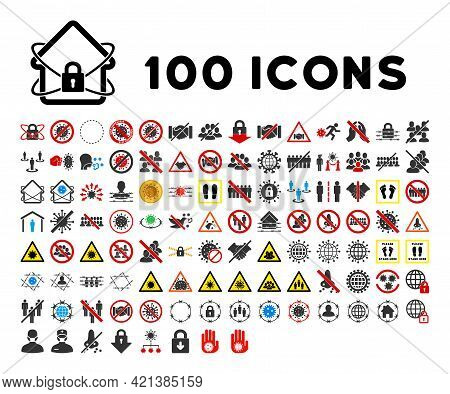 100 Covid Isolation Icons In Flat Style. 100 Covid Isolation Icons Is A Vector Icon Set With Quarant