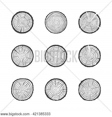 Tree Growth Rings Icons Set. Vector Saw Cut Trunk Symbols