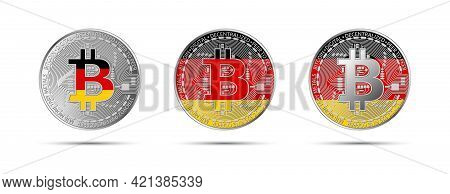 Three Bitcoin Crypto Coins With Flag Of Germany. Money Of The Future. Modern Cryptocurrency Vector I