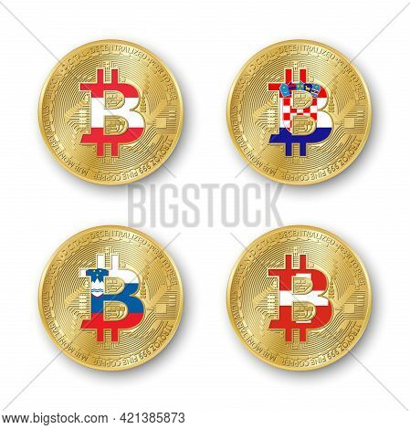 Four Golden Bitcoin Coins With Flags Of Austria, Croatia, Slovenia And Switzerland. Vector Cryptocur