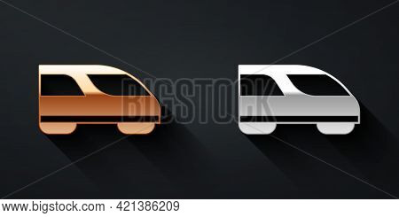 Gold And Silver High-speed Train Icon Isolated On Black Background. Railroad Travel And Railway Tour