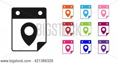 Black Travel Planning Calendar Icon Isolated On White Background. A Planned Holiday Trip. Set Icons