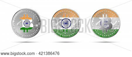 Three Bitcoin Crypto Coins With The Flag Of India. Money Of The Future. Modern Cryptocurrency Vector