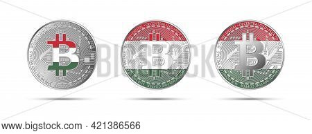 Three Bitcoin Crypto Coins With Flag Of Hungary. Money Of The Future. Modern Cryptocurrency Vector I
