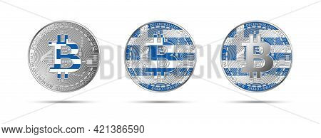 Three Bitcoin Crypto Coins With The Flag Of Greece. Money Of The Future. Modern Cryptocurrency Vecto