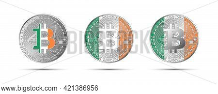 Three Bitcoin Crypto Coins With The Flag Of Ireland. Money Of The Future. Modern Cryptocurrency Vect