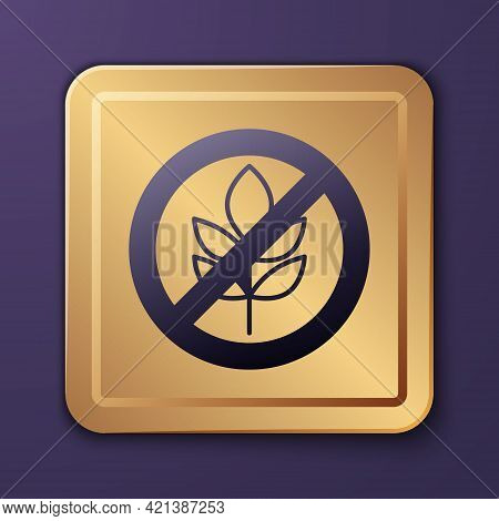 Purple Gluten Free Grain Icon Isolated Purple Background. No Wheat Sign. Food Intolerance Symbols. G