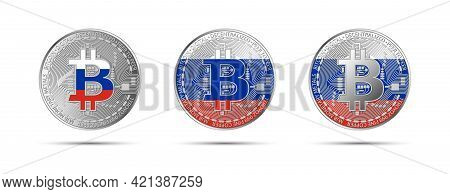 Three Bitcoin Crypto Coins With The Flag Of Russia. Money Of The Future. Modern Cryptocurrency Vecto
