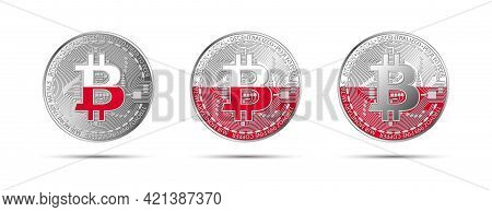 Three Bitcoin Crypto Coins With Flag Of Poland. Money Of The Future. Modern Cryptocurrency Vector Il