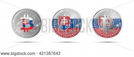 Three Bitcoin Crypto Coins With Flag Of Slovakia. Money Of The Future. Modern Cryptocurrency Vector