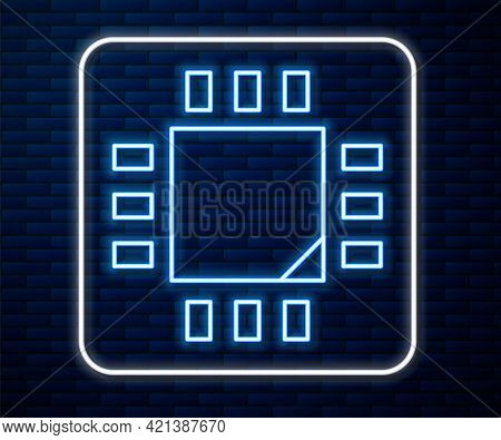 Glowing Neon Line Computer Processor With Microcircuits Cpu Icon Isolated On Brick Wall Background.
