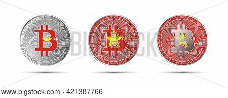Three Bitcoin Crypto Coins With The Flag Of Vietnam. Money Of The Future. Modern Cryptocurrency Vect