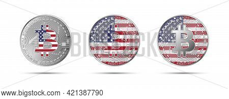 Three Bitcoin Crypto Coins With The Flag Of Usa. Money Of The Future. Modern Cryptocurrency Vector I