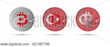 Three Bitcoin Crypto Coins With The Flag Of Turkey. Money Of The Future. Modern Cryptocurrency Vecto