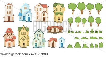 Cartoon House, Trees And Bushes. Set. A Beautiful, Cozy Country House In A Traditional European Styl