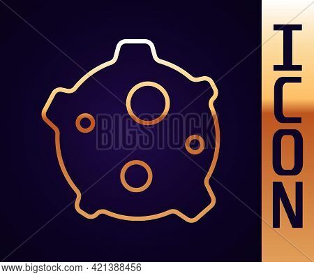 Gold Line Asteroid Icon Isolated On Black Background. Vector