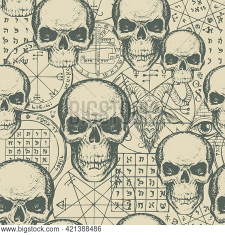 Abstract Seamless Pattern With Hand-drawn Human Skulls, Goat Head, Esoteric And Occult Symbols On An