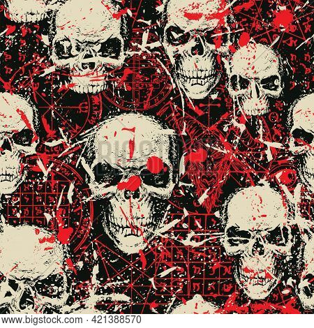 Abstract Seamless Pattern With Sinister Human Skulls, Blood Stains And Red Drawings Of Goat Head, Oc